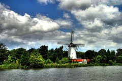 Windmill 'De Vier Winden' (anno 1776) (flekotech) Tags: blue white green water windmill dutch clouds rotterdam hdr molen zuidholland rotte rechterrottekade linkerrottekade rottekade terbregge vierwinden pieterwolthoorn