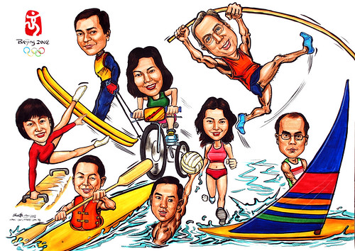 Group caricatures for Microsoft APAC Team colour