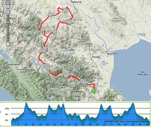 Marin Century 2008 100km Course Map