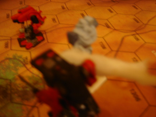 As Warhawk crosses ridge right arm is destroyed