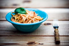 Creamy Tomato Basil Pasta (Kim // www.kmillerphotographs.com) Tags: wood blue food green cooking dinner tomato table vegan picnic fork bowl knot explore garlic basil spaghetti 2008 cashews peppercorn tomatopaste nikkor85mmf18 veganyumyum