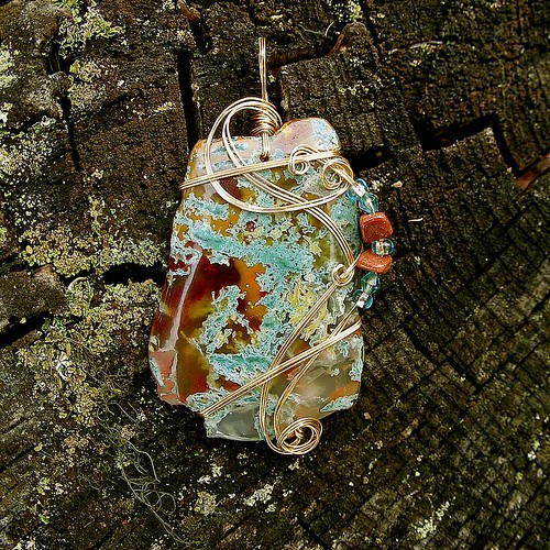 TREE HUGGER - Wire Wrapped Moss Agate Pendant. Healing Stone of Wealth and Strength  by Care More.