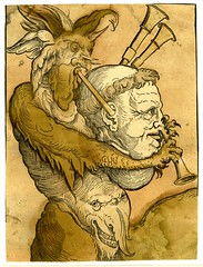 Devil playing the bagpipes; perched on the shoulders of a monk whose head forms the bagpipe (Kintzertorium) Tags: monk german devil woodcut bagpipe handcoloured c1530 handcolouredwoodcutwitheyesandmarkingsaddedinblackink germanrenaissanceprint printmadebyerhardschn kintzertorium