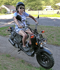 Granny Ma! (Doolittle Productions) Tags: woman ontario lady photoshop honda design helmet scooter granny brantford ruckus d80 butnothdr benjamindoolittle hdrstyled