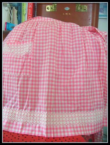 pink gingham apron