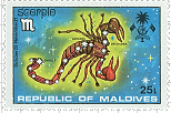 Maldive-Islands Scorpio-10 Stamp