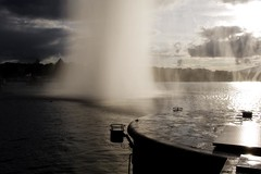 Back to square one (edouardv66) Tags: city sunset lake color fountain clouds 35mm switzerland waterfall nikon suisse geneva lac falling nikkor lman genve drizzle jetdeau waterwall autumne bigfountain d700