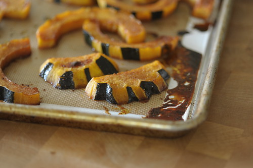 The finished squash is caramelized and slightly shrunken.