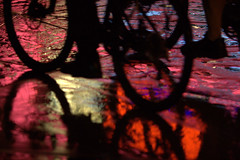 Five-O (Michael Dunn~!) Tags: reflection water silhouette neon bicycles sacramento photowalking photowalking100308 photowalking10032008