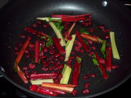 chard stems and cranberries