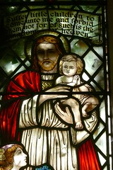 Detail 1940s memorial window St. Esprit Marton