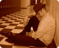 rest. (mumbaker) Tags: school boy senior project friend hallway fedora