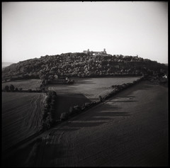 La pointe du jour (...cathzilla) Tags: trees bw nature abbey holga burgundy basilica hill earlymorning fields paths vzelay unescosite loooongshadows