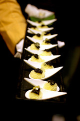 Potato puree with (a type of) cheese, caviar, and a lemon gelee