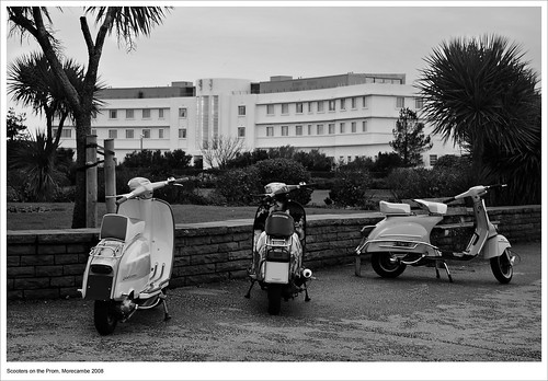 Midland Hotel and Scooters (B&W)