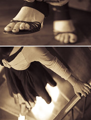 mode (D4Dee) Tags: light two woman feet girl stairs foot diptych shoes toes body girly feminine skirt stairwell duotone jupe pied goingout bannister gettingready chaussure canoneos400d stepdof
