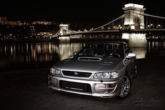 Virtuoso (Zek.) Tags: bridge lamp car wheel sport night digital canon silver river emblem logo rebel star shiny hungary artist 2000 flash rally budapest wing fast subaru gt duna impreza wrx sti speedlight awd spoiler lnchd virtuoso hoodscoop 430ex gc8 xti powerbulge canoneos400d