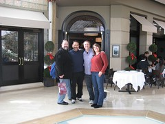 Sean, Toro, Tim and Amy outside Marché Moderne. (11/29/2008)