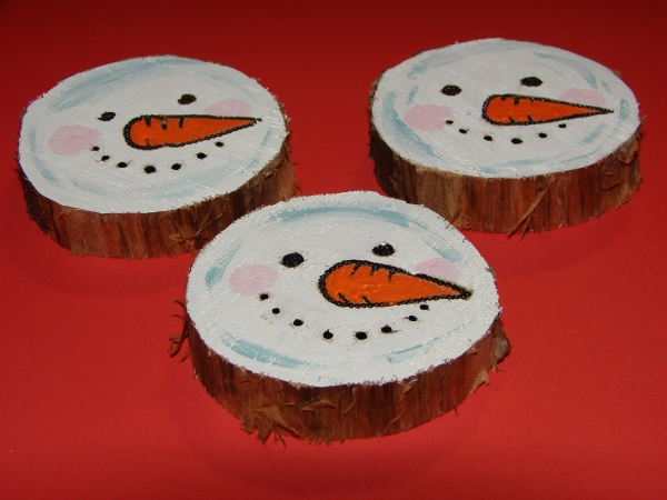 Recycled Tree Stump Snowmen Ornaments 3