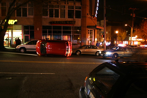 Car Turned Sideways In Front of Subway