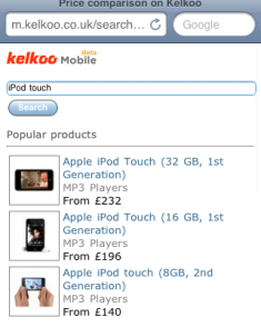 Kelkoo mobile search results