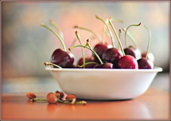 Cherries Are My Favourite Fruit (susanonline (busy these days)) Tags: red stilllife white fruit cherries bowl 50mmf14 aplusphoto nikond90 thedantecircle