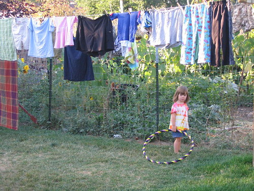 Little Lost hoop girl in the laundry