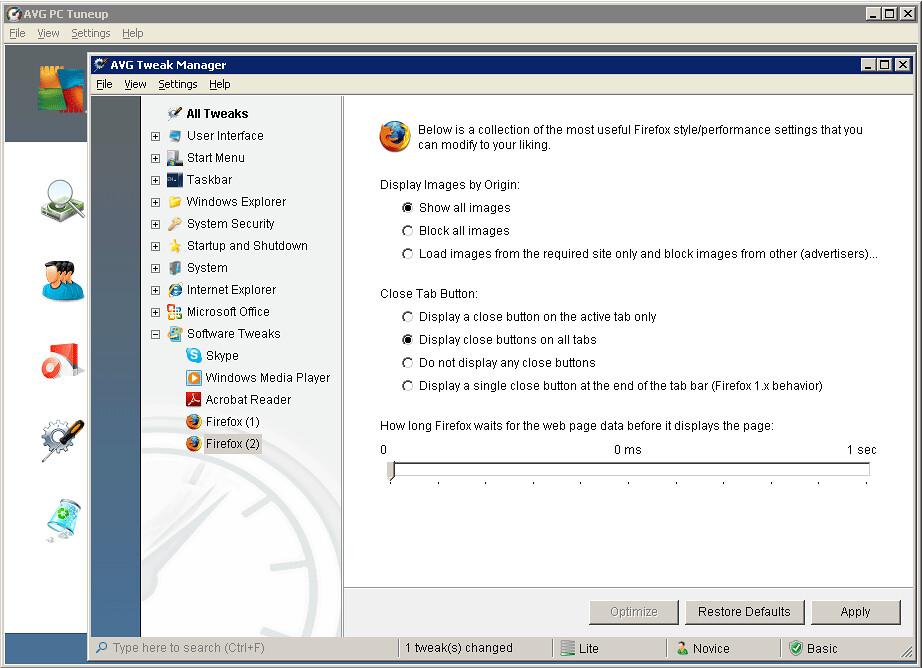 AVG Tweak Manager - Firefox Optimization