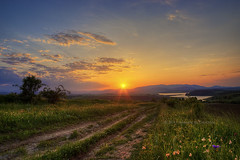 Somewhere In BG... (Didenze) Tags: road travel flowers sunset mountains nature clouds rural landscape spring warm dam bulgaria sunrays kardzhali didenze