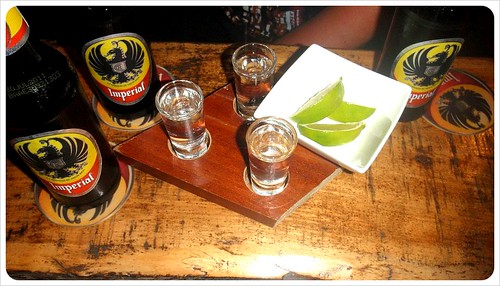 Guaro shots & Imperial Beer
