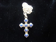 LAPIS LAZULI  silver cross and chain (Bracelets To Buckles) Tags: vintage for necklace sale website to bracelets buckles brooches