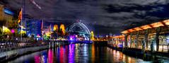 Harbour Bridge (evangelique) Tags: city colour water festival reflections lights sydney vivid 2011