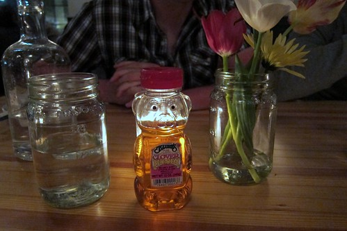 Love the jam jar water glasses and bear shaped honey bottle