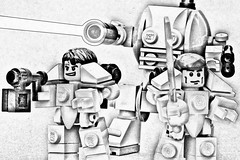 They shall know no fear (pasukaru76) Tags: blackandwhite lego marines spacemarines moc dreadnought wh40k canon100mm artsystyle