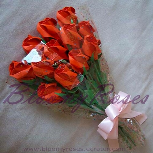 Origami Rose Bud Bouquet Orange