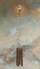 poussires dutemps II (Yanick Sasseville) Tags: sun bird art metal painting concrete gold rust origami contemporaryart rope plaster installation visualart anchors sasseville poussiresdutempsii