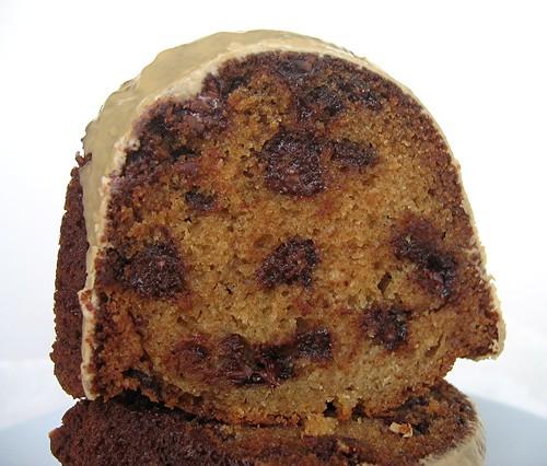 brown sugar chocolate chip pound cake with maple espresso glaze