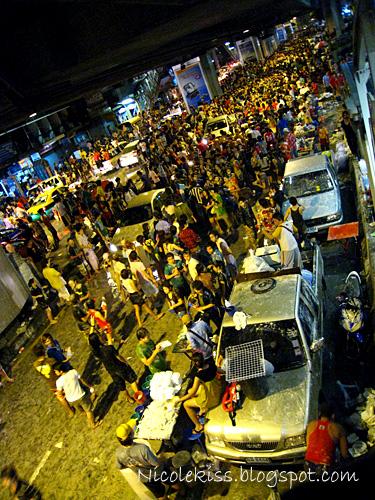 below sala daeng station during songkran