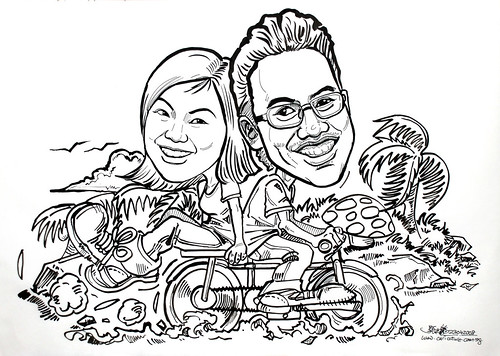 caricatures couple cycling ink 230408