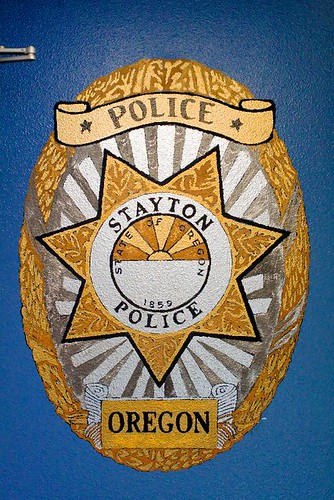 Stayton Police Mural at the police station in Stayton Oregon