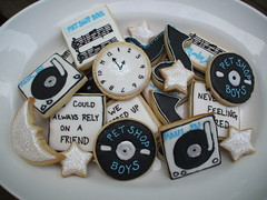 Record Cookies (sweetopia*) Tags: blackandwhite sun moon clock cookies stars baking lyrics dj sweet treats journal record petshopboys musicnotes decoratedcookies recordcookies