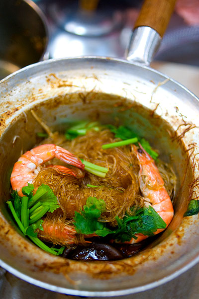 Kung op woon sen, shrimp and glass noodles, Or Tor Kor Market, Bangkok