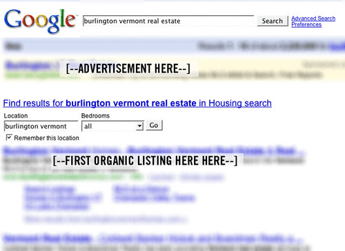 Google Real Estate Search Engine Result Page