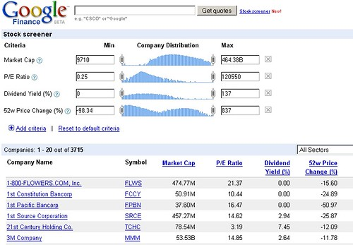 Google's Stock Screener