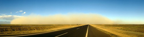 Massive dust storm heading my way about 35km west of Hami on National Highway 312, Xinjiang, China