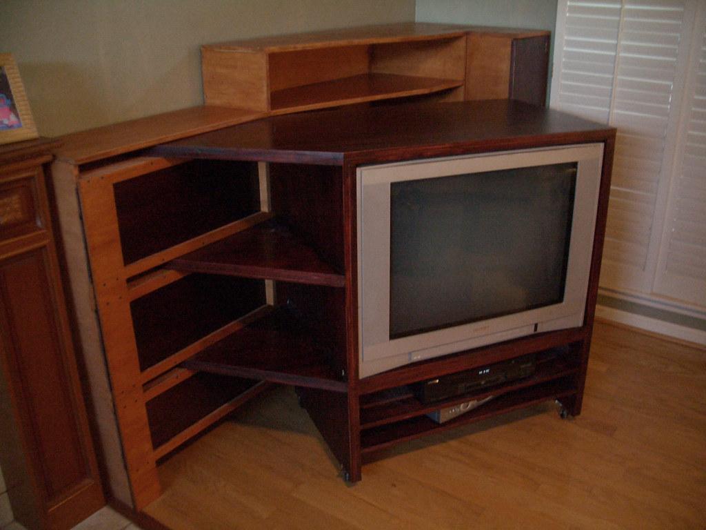 TV cabinet half open
