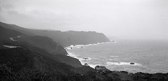 Storm System Approaching the Marin County Coast  -- 3 Jan 2008 (wanderingYew2 (thanks for 3M+ views!)) Tags: california blackandwhite storm mamiya film geotagged wave pacificocean marincounty pacificcoast filmscan winterstorm shoals pacificcoasthighway californiahighway1 ca1 blackandwhitefilm mamiya7ii shorelinehighway nationalscenicbyway allamericanroad geo:lat=37879795 geo:lon=122614948