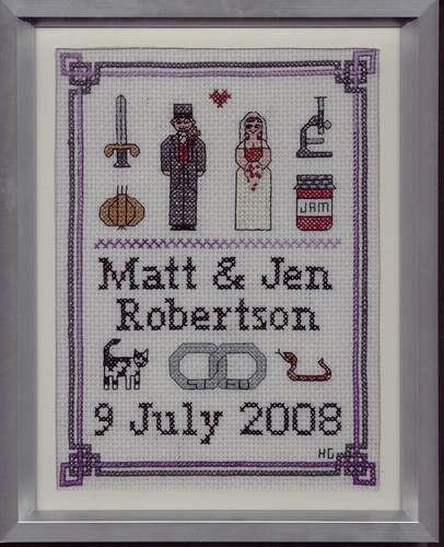 Matt & Jen's wedding cross stitch