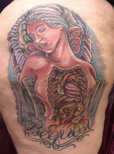 a tattoo based on the anatomical venus wax sculptural tradition.