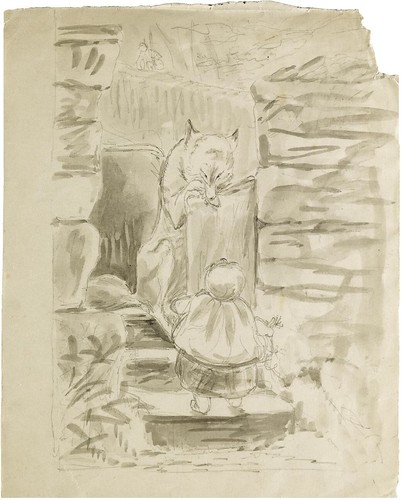Little Red Riding Hood encounters the Wolf (Beatrix Potter sketch)